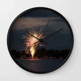 Fireworks Over Lake 31 Wall Clock