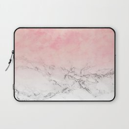 Modern blush pink watercolor ombre white marble Laptop Sleeve