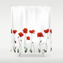 Poppy Stems Shower Curtain