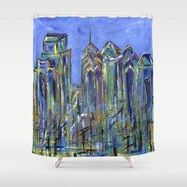 Blue Philadelphia Skyline Shower Curtain