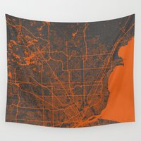 detroit Wall Tapestries featuring Detroit map by Map Map Maps
