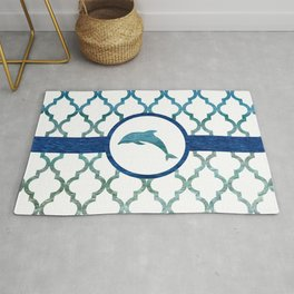 Dolphins: Tropical Water Moroccan Pattern Rug