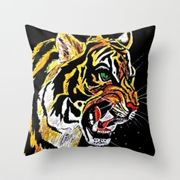 Tiger Stalking Prey Oil Painting Throw Pillow