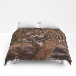 Vintage Tiger Painting (1909) Comforters