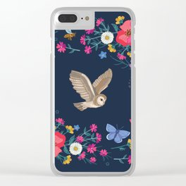 Owl and Wildflowers Clear iPhone Case