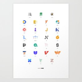 Word in Letter - Alphabet (Colors Edition) Art Print