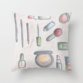 MAKE-UP - pencil and coloured pencil illustration Throw Pillow
