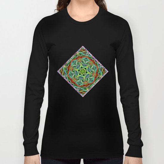 Feathered texture mandala in green and brown Long Sleeve T-shirt