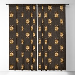 Brown & Gold Scarab Pattern Blackout Curtain