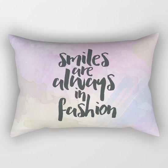 Smiles In Fashion Quote Rectangular Pillow