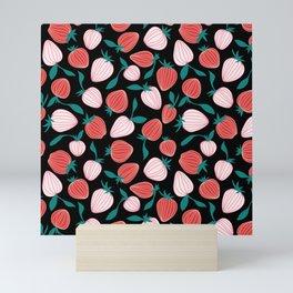 Pink strawberry pattern on black background, tutti frutti trend! Mini Art Print