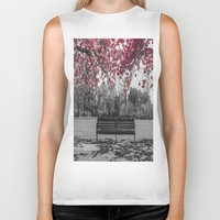 cherry blossom Biker Tanks featuring Cherry Blossom by Claire Doherty