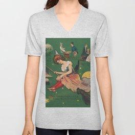 Vintage Witch on a Broomstick Illustration Unisex V-Neck