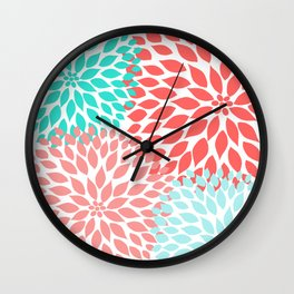 Coral Teal Dahlia Bouquet Wall Clock