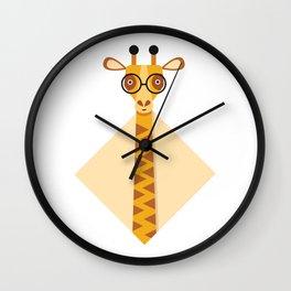 Geeky giraffe. Giraffe with glasses. Wall Clock