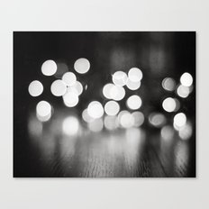 Black and White Sparkle Lights Photography, Neutral Bokeh Sparkly Photograph Canvas Print