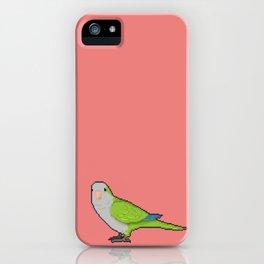 Pixel / 8-bit Parrot: Green Quaker Parrot iPhone Case