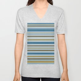 Stripey Design Gold Cream Brown Blues Unisex V-Neck