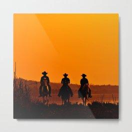 Wild West sunset - Cowboy Men horse riding at sunset Vintage west vintage illustration Metal Print