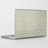 bedding Laptop & iPad Skins featuring Gypsy Floral in Soft Neutrals, Grey & Yellow on Sage by micklyn