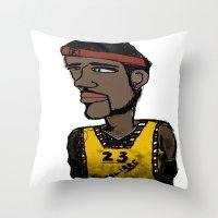 basketball Throw Pillows featuring Basketball  by JBLITTLEMONSTERS