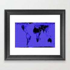 World Map: Gall Peters Indigo Purple Framed Art Print