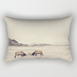 Sparring Elk in Wyoming - Wildlife Photography Rectangular Pillow