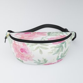 Watercolor Peonie with greenery Fanny Pack