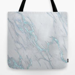 Marble Love Electric Blue Metallic Tote Bag
