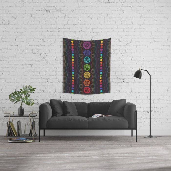 Rainbow Chakras Wall Tapestry