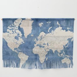 Light brown and blue watercolor detailed world map Wall Hanging