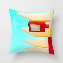 Architectural photography street lamp red+yellow / aqua sky Throw Pillow
