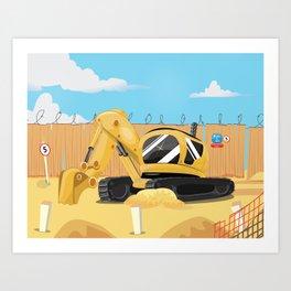 Excavator Digger on construction site Art Print