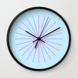 SpikeyBurst - Pastel Blue with Bright Pink Wall Clock