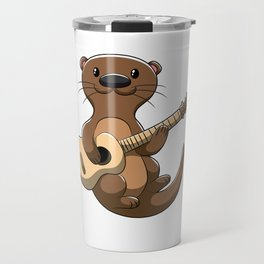 guitar playing otter music weasel musician Travel Mug