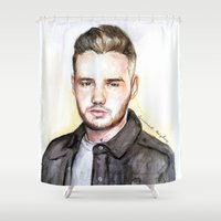 liam payne Shower Curtains featuring Liam Watercolors by Coconut Wishes