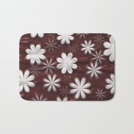 Melted Chocolate and Milk Flowers Pattern Bath Mat
