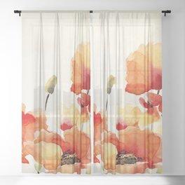 Poppy Flower Meadow- Floral Summer lllustration Sheer Curtain
