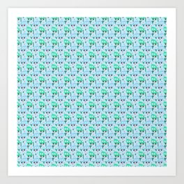 Mini Camper Vans in Blue and Mint with Green Cactus and Pink Flowers Art Print