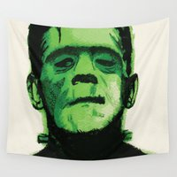 frankenstein Wall Tapestries featuring Frankenstein  by Bonez Designz