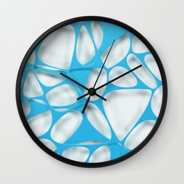 Blue on white, organic abstraction Wall Clock