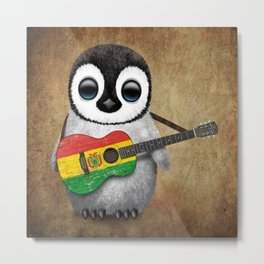 Baby Penguin Playing Bolivian Flag Acoustic Guitar Metal Print