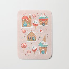Gingerbread Candy Land Gingerbread Candy Landon pink Bath Mat