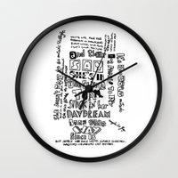 lyrics Wall Clocks featuring Lettering Lyrics by Insait