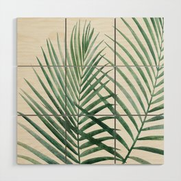 Emerald Palm Fronds Watercolor Wood Wall Art