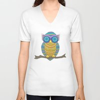 henna V-neck T-shirts featuring Henna Owl by haleyivers