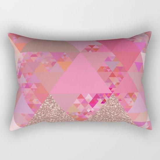 Triangles in glittering pink- glitter triangle pattern Rectangular Pillow