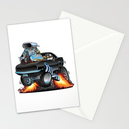 Classic Sixties American Muscle Car Popping a Wheelie Cartoon Illustration Stationery Cards