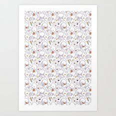 Heart Kids Pattern Art Print