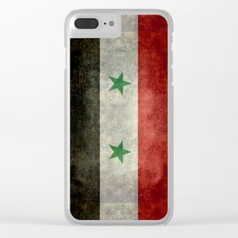 Syrian national flag, vintage Clear iPhone Case